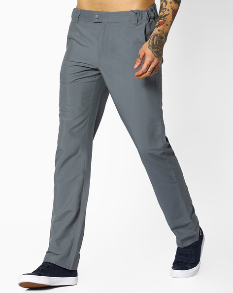 Cotton Stretch Trousers With Zip Pockets By AJIO ( Blue )