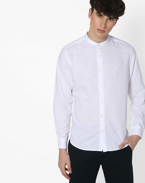 Slim Fit Shirt With Mandarin Collar By UNITED COLORS OF BENETTON ( White )