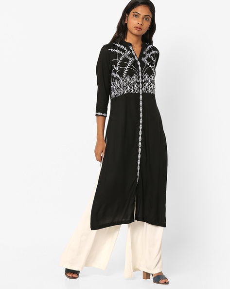 Embroidered Kurta With Front Slit By Rain & Rainbow ( Black )