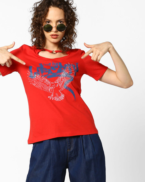 Graphic Print T-shirt With Metal Ring By AJIO ( Red )