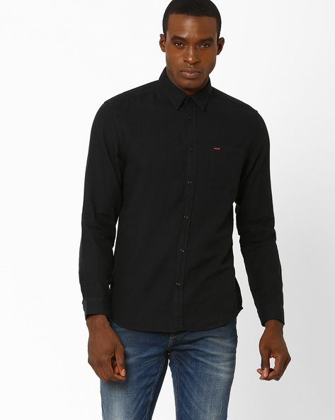 Slim Fit Shirt With Patch Pocket By Jack & Jones ( Blue )