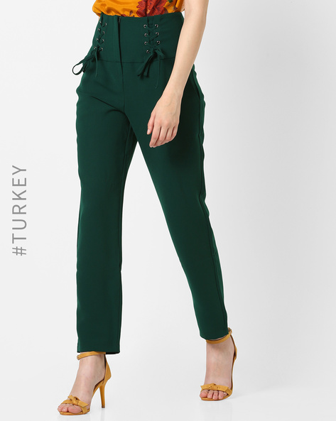 Trousers With Front Lace-Ups By TRENDYOL ( Green )