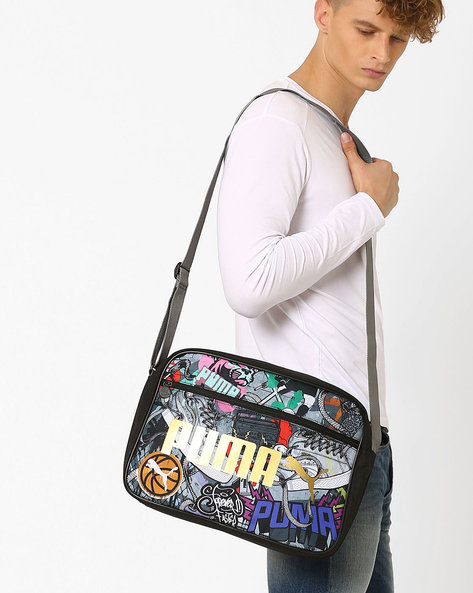 Graffiti Print Messenger Bag By Puma ( Black )