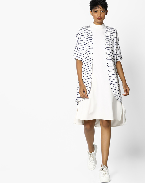 Striped Shrug With Drop Shoulders By Project Eve WW Casual ( Blue )