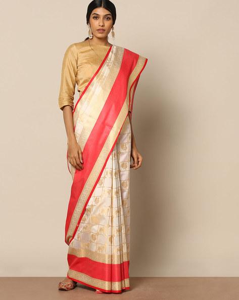 South Silk Kanakavali Design Saree By Pretty Woman ( White )
