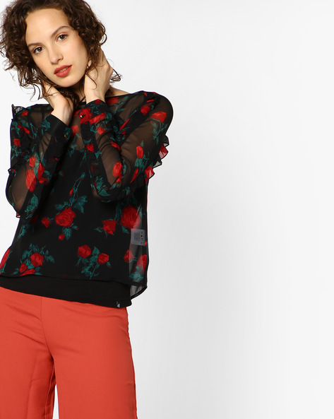 Floral Print Sheer Top With Attached Camisole By AJIO ( Black )