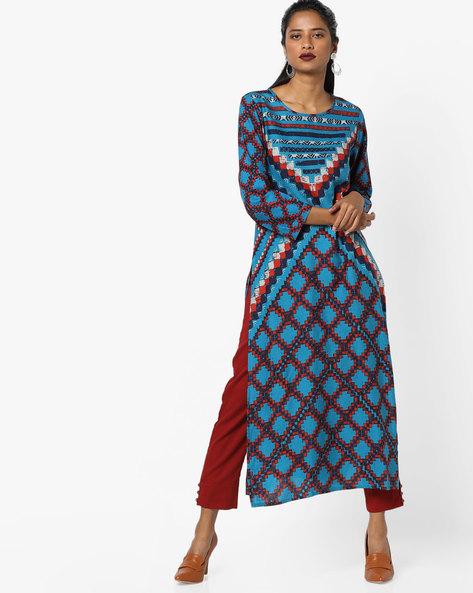 Printed Straight Kurta By Global Desi ( Blue )