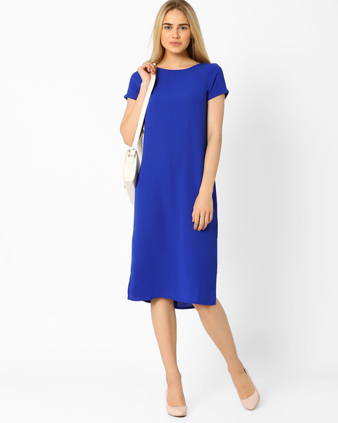 Shift Dress With Side Slits By AJIO ( Blue )