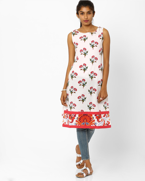 Floral Print Sleeveless Kurta By AJIO ( White )