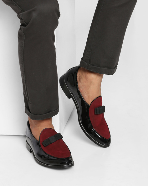 Colourblock Loafers With Bow Detail By MONKSTORY ( Red )
