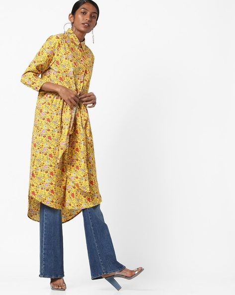 Floral Print Tunic Shirt With Tie-Up By AJIO ( Yellow )