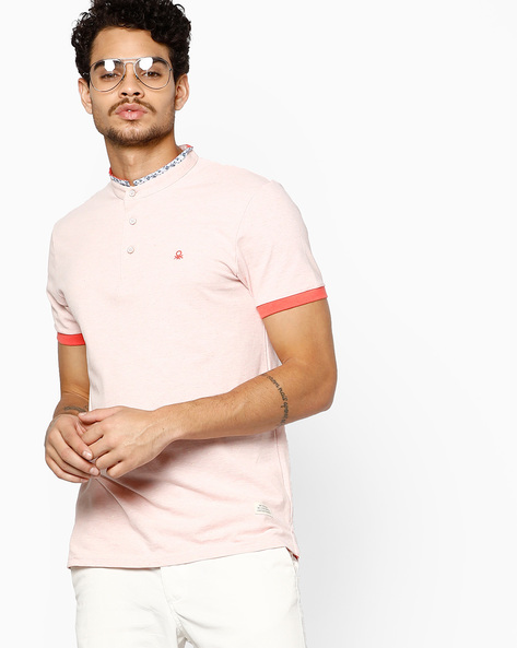 T-shirt With Band Collar By UNITED COLORS OF BENETTON ( Pink )