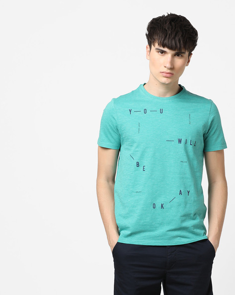 Heathered Crew-Neck T-shirt With Placement Print By AJIO ( Green )