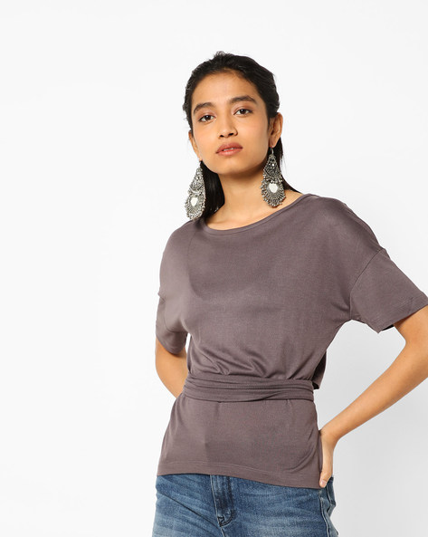 High-Low T-shirt With Waist Tie-Up By AJIO ( Charcoal )