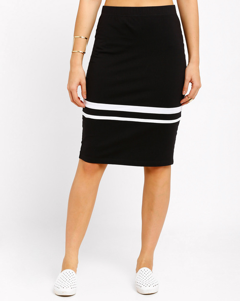 Striped Pencil Skirt By AJIO ( Black )
