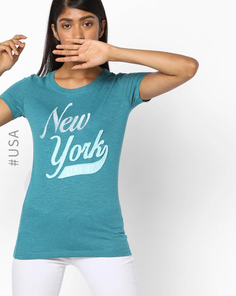 Printed T-Shirt With Appliqué By Aeropostale ( Navyblue )