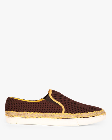 Canvas Slip-On Sneakers By ESCARO ( Brown )