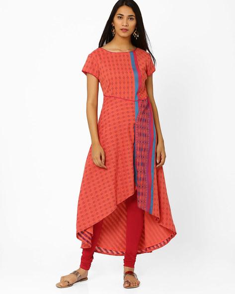 Printed Asymmetrical Dress By Biba ( Peach )