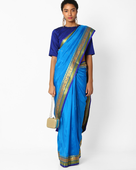 Saree With Floral Zari Border By Amori ( Blue )