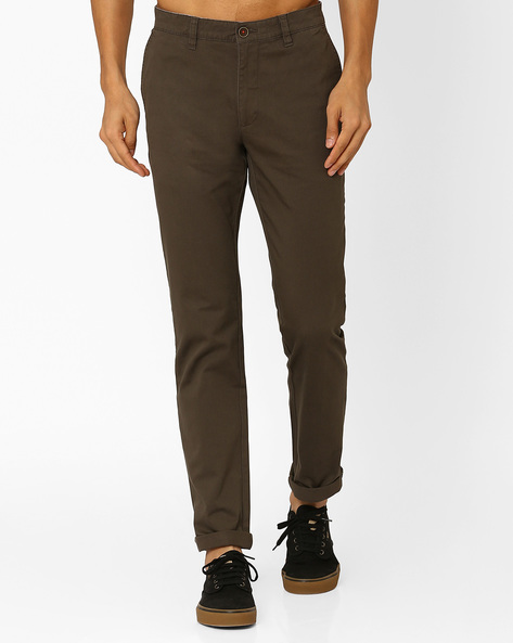 Cotton Slim Fit Trousers By Wills Lifestyle ( Green )
