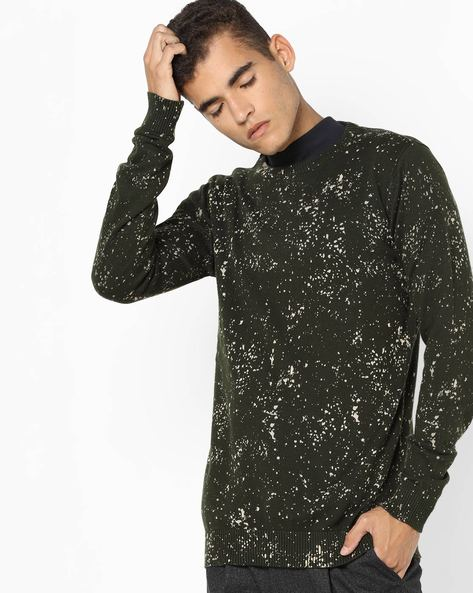 Printed Pullover With Ribbed Hems By Jack & Jones ( Green )