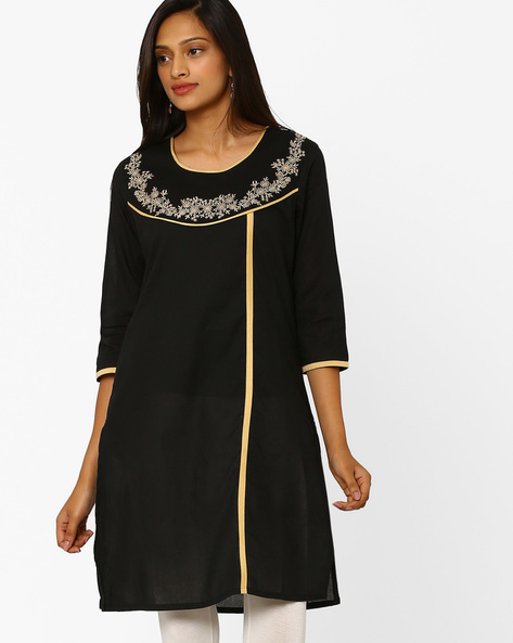 Embroidered Kurta With Contrast Taping By AVAASA MIX N' MATCH ( Black )