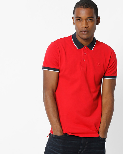 Polo T-shirt With Contrast Collar By UNITED COLORS OF BENETTON ( Red )
