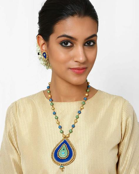Handmade Terracotta Necklace Set By Kalamayi ( Green )