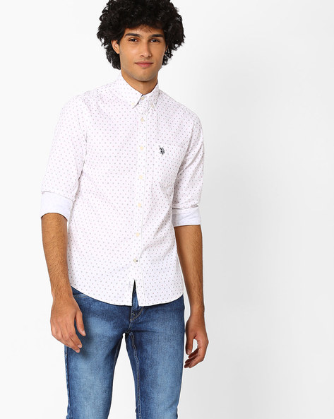 Printed Shirt With Button-Down Collar By US POLO ( Assorted )