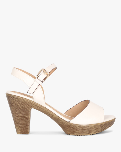Open-Toe Heels With Buckle Closure By Heavenly Feet ( White )