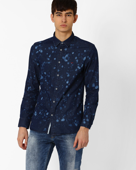 Slim Fit Printed Denim Shirt By Jack & Jones ( Blue )