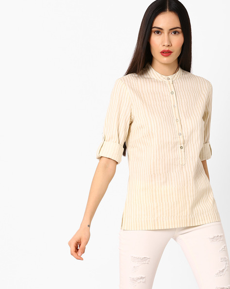 Striped Shirt With Band Collar By AJIO ( Beige )