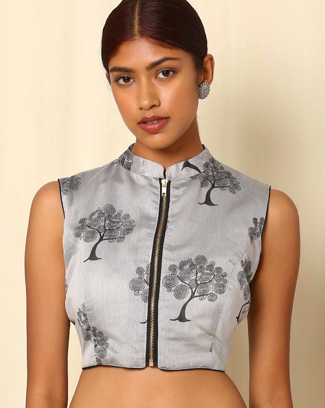 Printed Cotton Silk Sleeveless Blouse By Indie Picks ( Silver )