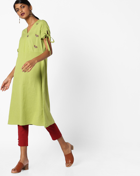 A-line Kurta With Tie-Up Sleeves By AJIO ( Olive )