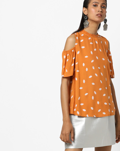 Leaf Print Cold-Shoulder Top By BOSSINI ( Yellow )