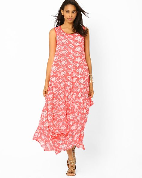 Printed Maxi Dress By Biba ( Coral )