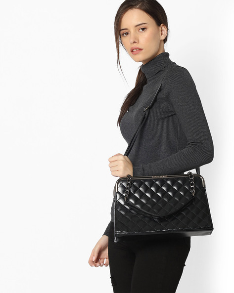 Quilted Sling Bag By Lino Perros ( Black )