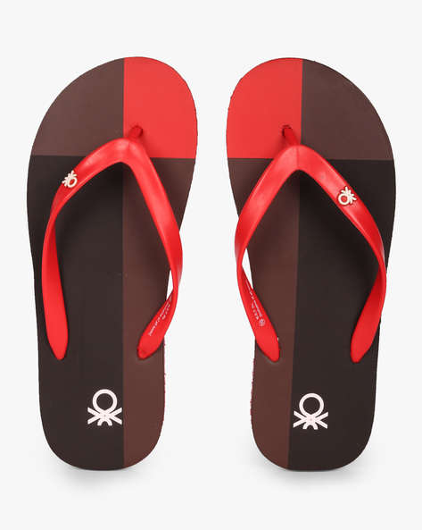Colourblock Thong-Style Flip-Flops By UNITED COLORS OF BENETTON ( Maroon )