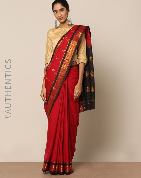 South Cotton Silk Saree With Rich Pallu By Indie Picks ( Red )
