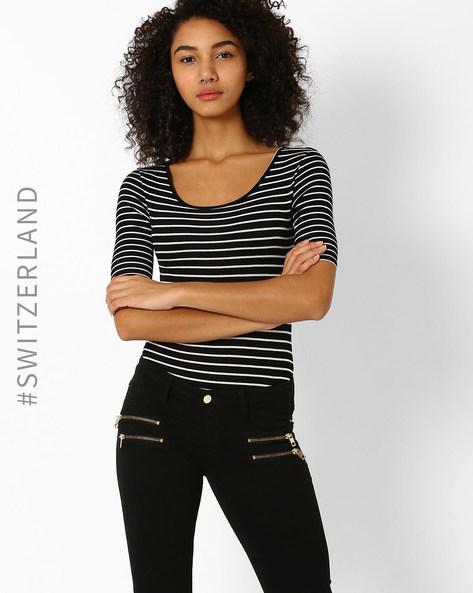 Knitted Leotard Striped T-Shirt By TALLY WEiJL ( Black )