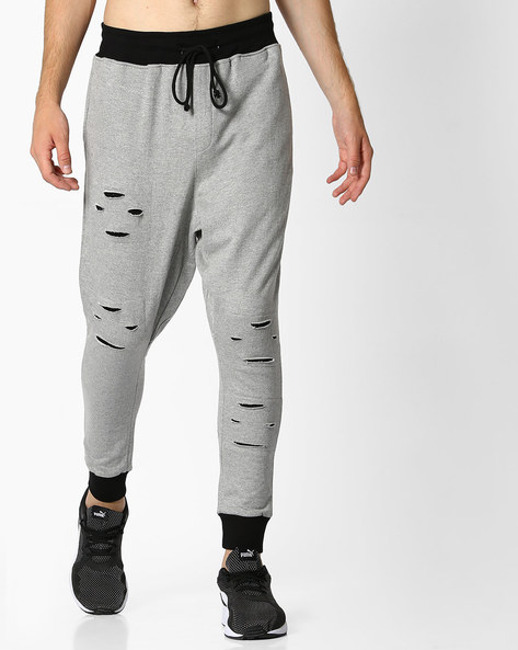 Ripped Joggers With Drawstring Waist By DEEZENO ( Grey )