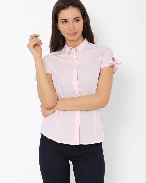 Shirt With Tie-Up Sleeves By Annabelle By Pantaloons ( Pink )