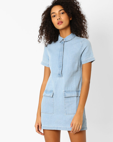 Denim Shirt Dress With Spread Collar By Oxolloxo ( Blue )