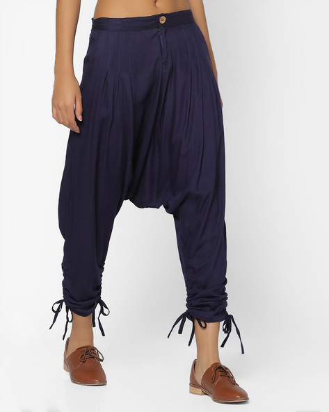 Drop Crotch Pants With Scoop Pockets By Desi Weaves ( Navyblue )