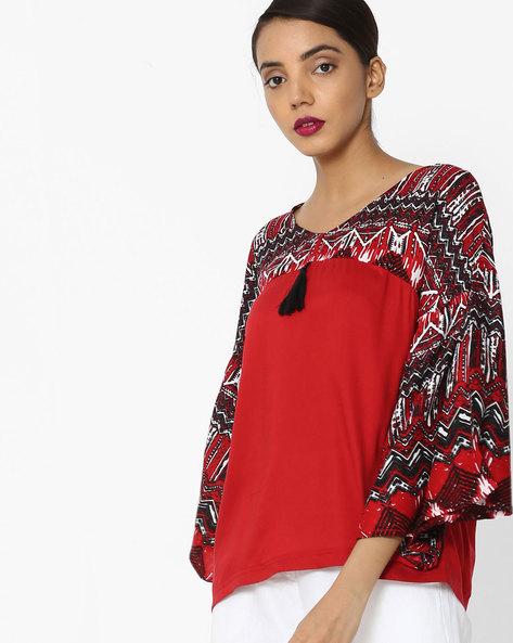 Top With Printed Yoke & Sleeves By Akkriti By Pantaloons ( Red )