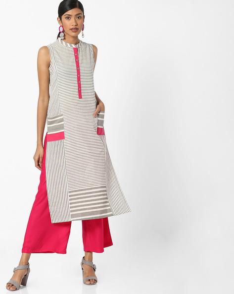 Striped Straight Cotton Kurta By AVAASA MIX N' MATCH ( Medgrey )