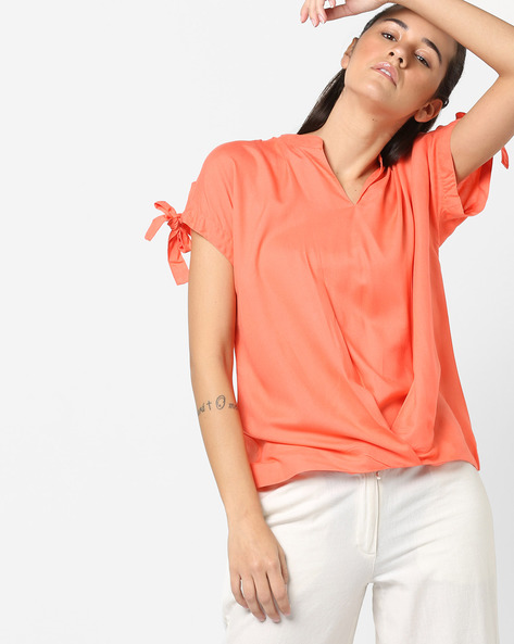 Blouson Top With Extended Tie-Up Sleeves By AJIO ( Coral )