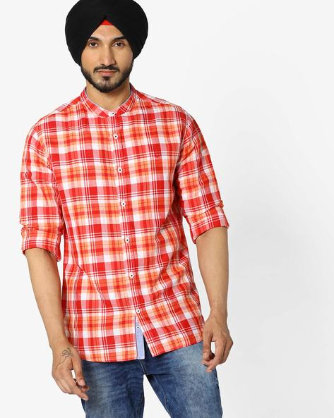 Checked Shirt With Mandarin Collar By UNITED COLORS OF BENETTON ( Red )