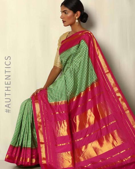 Pure Silk Bangalore Checked Saree With Kadiyal Border By Pretty Woman ( Green )