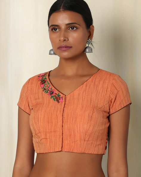 Handwoven Cotton Blouse With Embroidery By The Blouse Factory ( Orange )